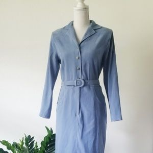Vintage NWOT Lindsey Scott Blue Jumper Dress  8